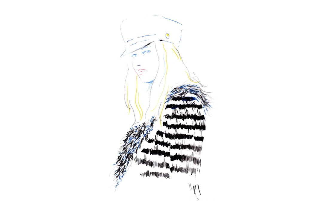 Handpainted feathers striped dress made by Maison Lemarié for the #CHANELMetiersdArt 2017/18 collection. #CHANELinHamburg More illustrations on https://t.co/iSVAKHLy29