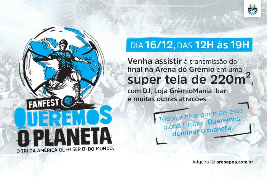 Adquira já o seu ingresso para a fanfest #QueremosOPlaneta!  Acesse https://t.co/DhH1pGvJTO e saiba como!  Realização: Grêmio e @todosnaarena Apoio: Rede Globo, Grupo RBS, NET, Águas Minerais Sarandi e Cerveja Brahma Oficial.