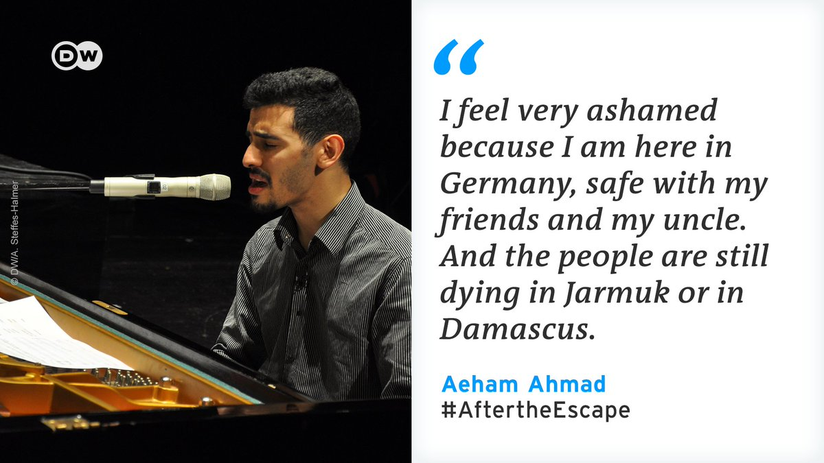 Once he played piano in the rubble of Damascus. Now Aeham Ahmad lives as a refugee in Germany. With his music @1988_Aeham encourages people in Syria not to give up hope. #AftertheEscape — the multimedia special starts December 15 at https://t.co/mZYr6T66mU