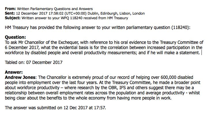 A week after @PHammondMP blamed working disabled people for the UK's low productivity, we learn that there was no evidence whatsoever for his statement. [Image: Written Parliamentary Question on disability and productivity]