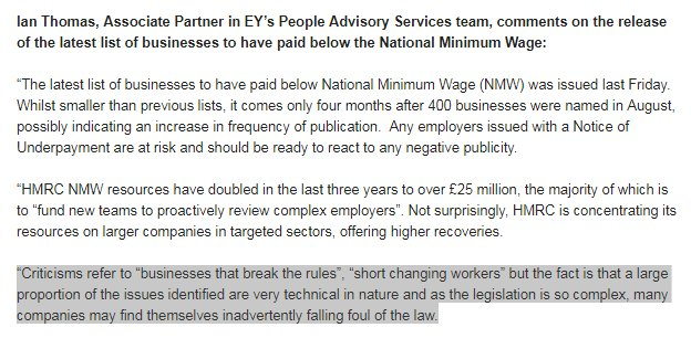 Wow ... EY, one of the largest accountancy firms in the UK, appearing to argue that its 'alright' not to pay the national minimum wage if you do it by making people pay for uniforms, getting your sums wrong etc