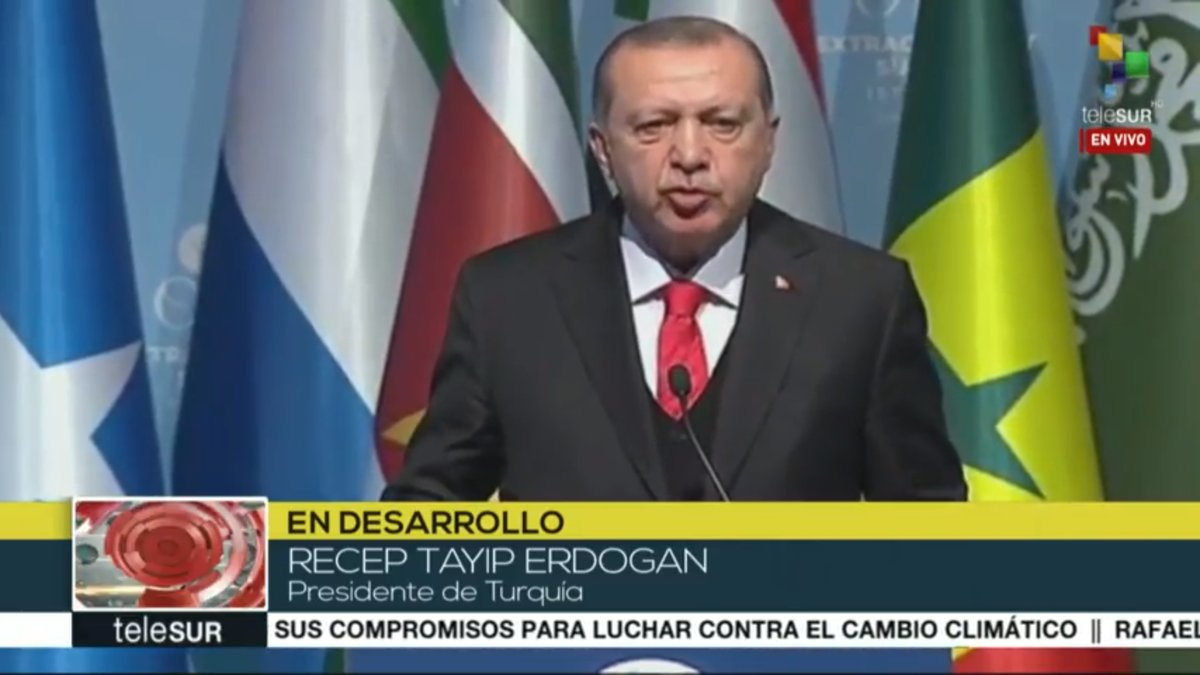 Erdogan: As long as the occupation has not ended, we will defend the Palestinian struggle. I call on the world to join in recognizing the Palestinian State.  We recognize Jerusalem as the capital of Palestine @OIC_OCI.