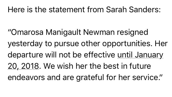 WH confirms Omarosa has resigned.