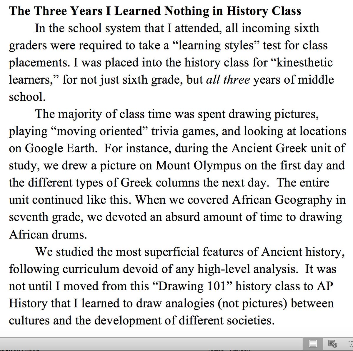 English Composition Essay Learning Styles Do Real Damage To Learning One Of My Students Wrote An Essay  About Learning History By Drawing And Moving Around For Three Years After   Pollution Essay In English also Essay On Healthcare Nate Kornell On Twitter Learning Styles Do Real Damage To Learning  Thesis Statement For Persuasive Essay