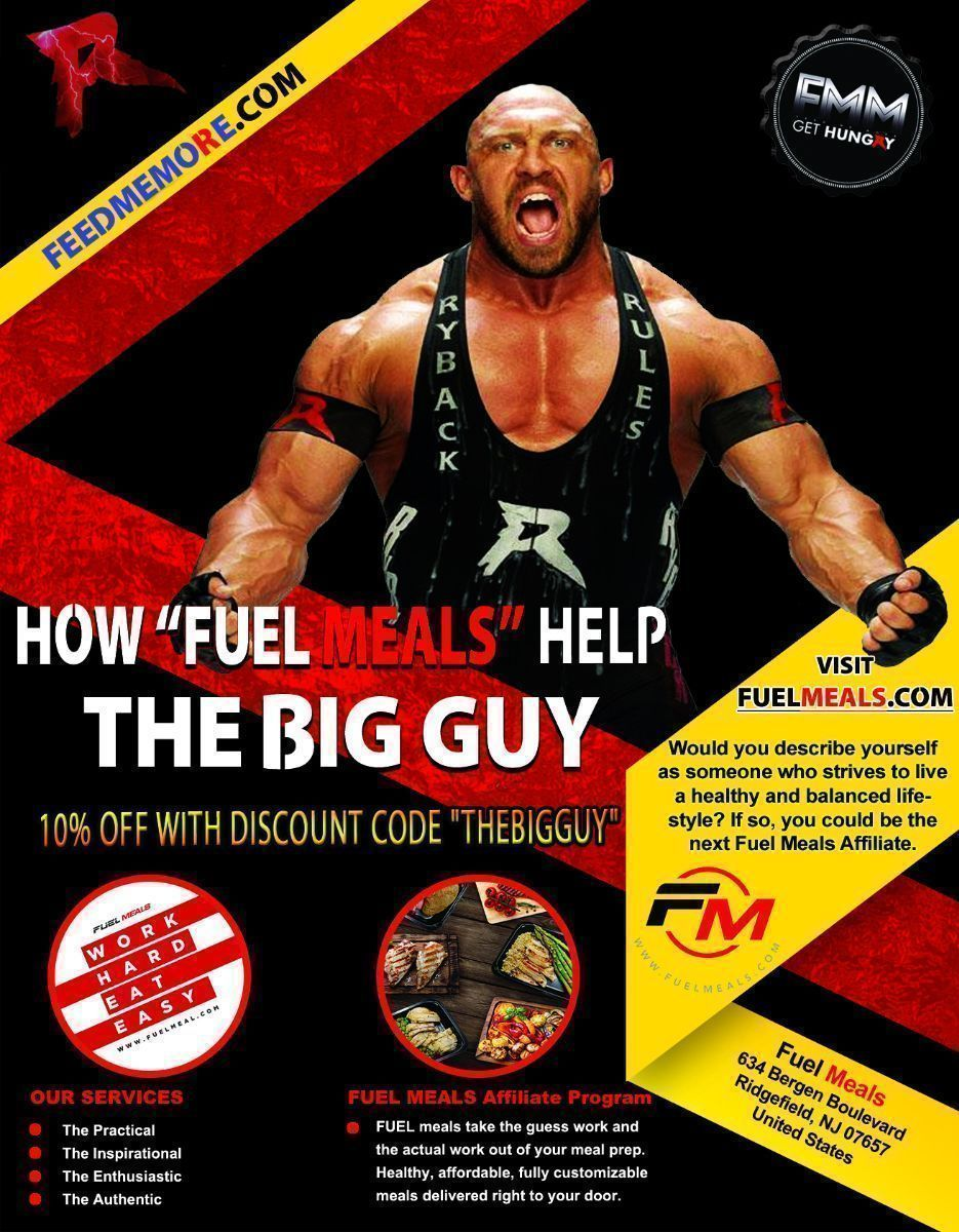 Save 10% with discount code THEBIGGUY @_fuel_up on your @_fuel_up meals. The personal meal prep service of @Ryback22 New menu available now.