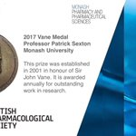 It is one of the greatest honours to be recognised by your peers.   This week three @MonashPharm researchers were acknowledged by the British Pharmacological Society for their professional contributions:  Prof Patrick Sexton, awarded the 2017 Vane Medal. (1/3)