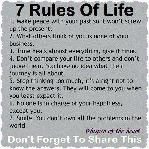 7 Rules of #Life👏  #purpose #balance #entrepreneur #happiness #quote https://t.co/b9sPDLSU2t