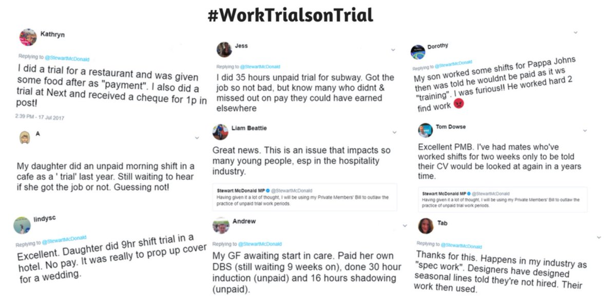 Here are just some of the experiences that people have tweeted about their unpaid trial shifts. I can assur @theresa_maye  that this is a very real problem and we have the chance to fix it on March 16 #WorkTrialsOnTrialth