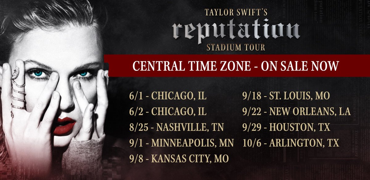 CENTRAL TIME ZONE! You're up!! Tickets for Taylor Swift's reputation Stadium Tour are on sale NOW for these shows. #GetREPTicketsNOW   Get tickets here: https://t.co/0oILIqaXGq