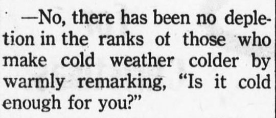 On This Day in 1917, the Rockingham post-dispatch did NOT want to hear your witty remarks about the cold! #relevant #staywarm #OTD1917 #ChronAm  https:// tinyurl.com/ycehxst3  &nbsp;     https://twitter.com/NCCollection/status/940977366746238979/photo/1 <br>http://pic.twitter.com/T2q9p7lRAW  &nbsp;  <br>http://pic.twitter.com/JY8xovrkdu