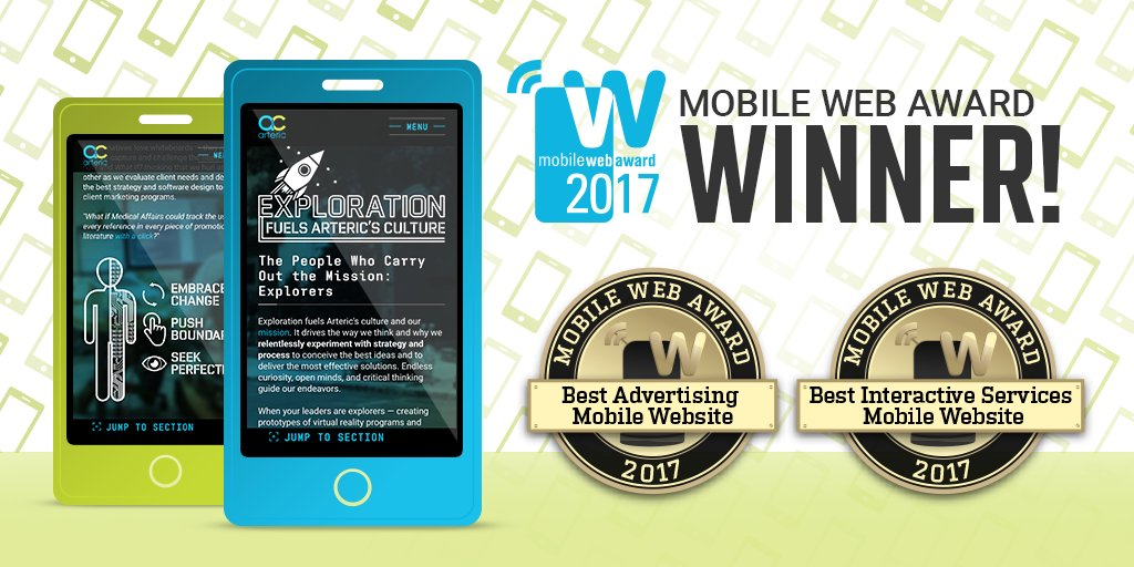 Arteric On Twitter Hurrah We Won Two 2017 Mobile Web Awards From The Web Marketing Association Our Website Is 2017 S Best Advertising Mobile Website And Best Interactive Services Mobile Website Responsive Design