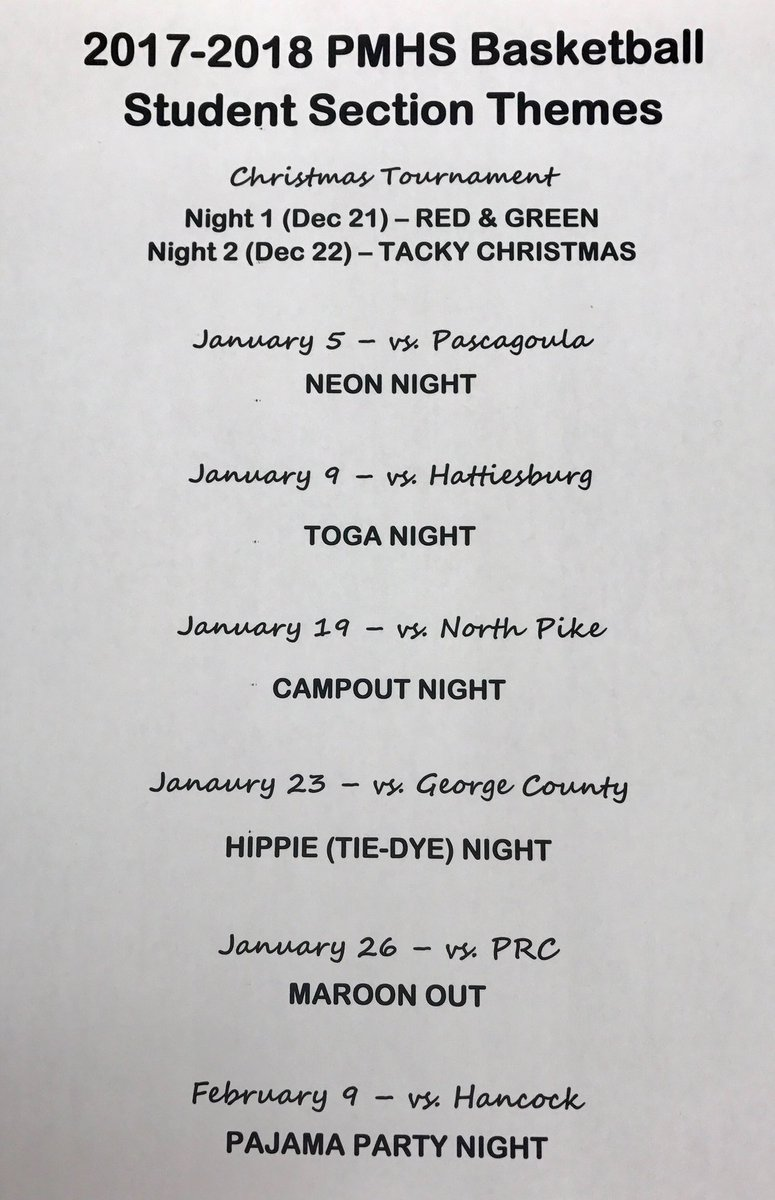 Pmhs Student Section On Twitter Dean S Dawgs Student Section S Themes Home Basketball Games Please Join Us On These Dates And Pack Out Our Student Section Https T Co Ugjffqmyj3