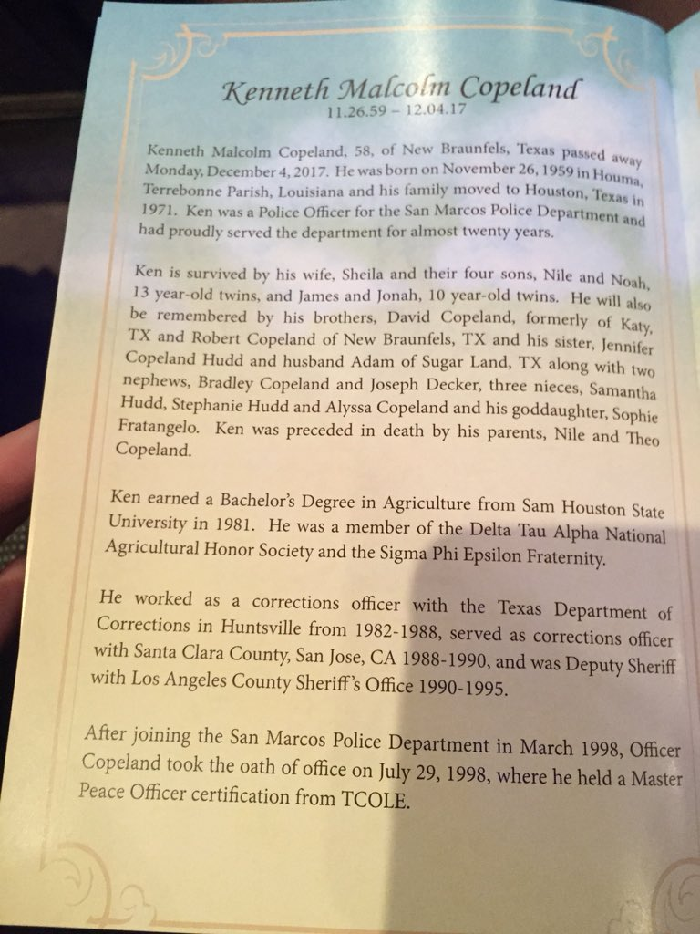 Taylor goldenstein on twitter just arrived at community bible a bio of copeland in the program copeland served in san marcos for almost 20 years he is the first officer from the agency to be killed in the line of 1betcityfo Images