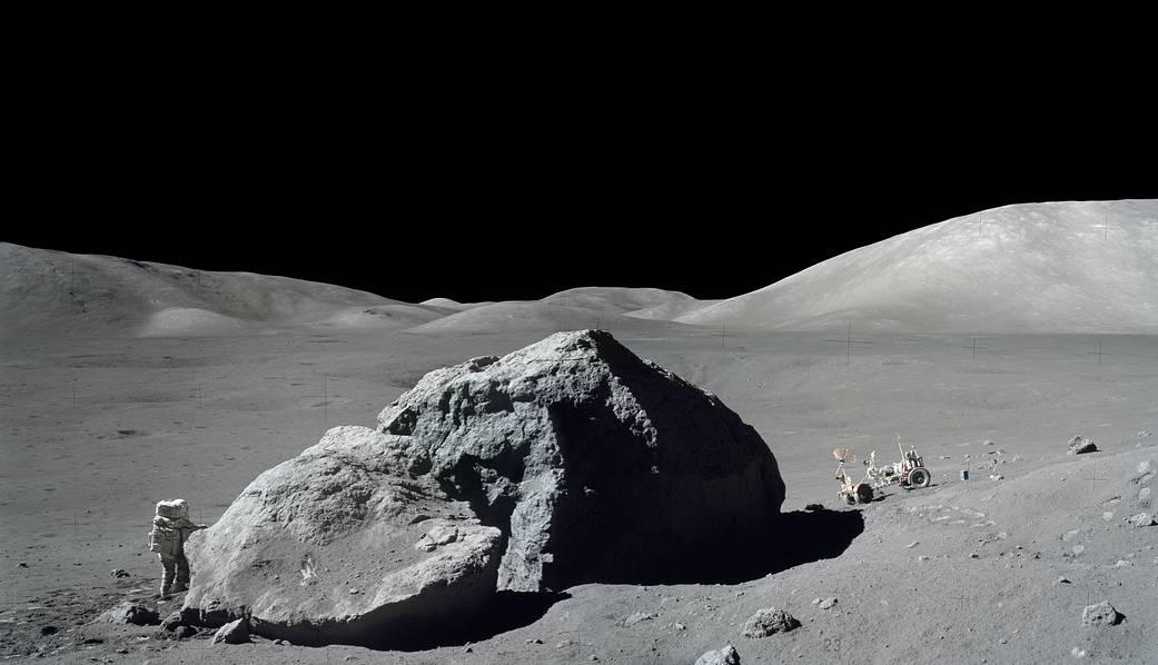 45 years ago #Today, scientist-astronaut Harrison H. &#39;Jack&#39; Schmitt was standing next to a huge, split lunar boulder during the third #Apollo17 extravehicular activity (EVA) at the Taurus-Littrow landing site  https:// go.nasa.gov/2CeUGRV  &nbsp;  <br>http://pic.twitter.com/kclIc8hxDr