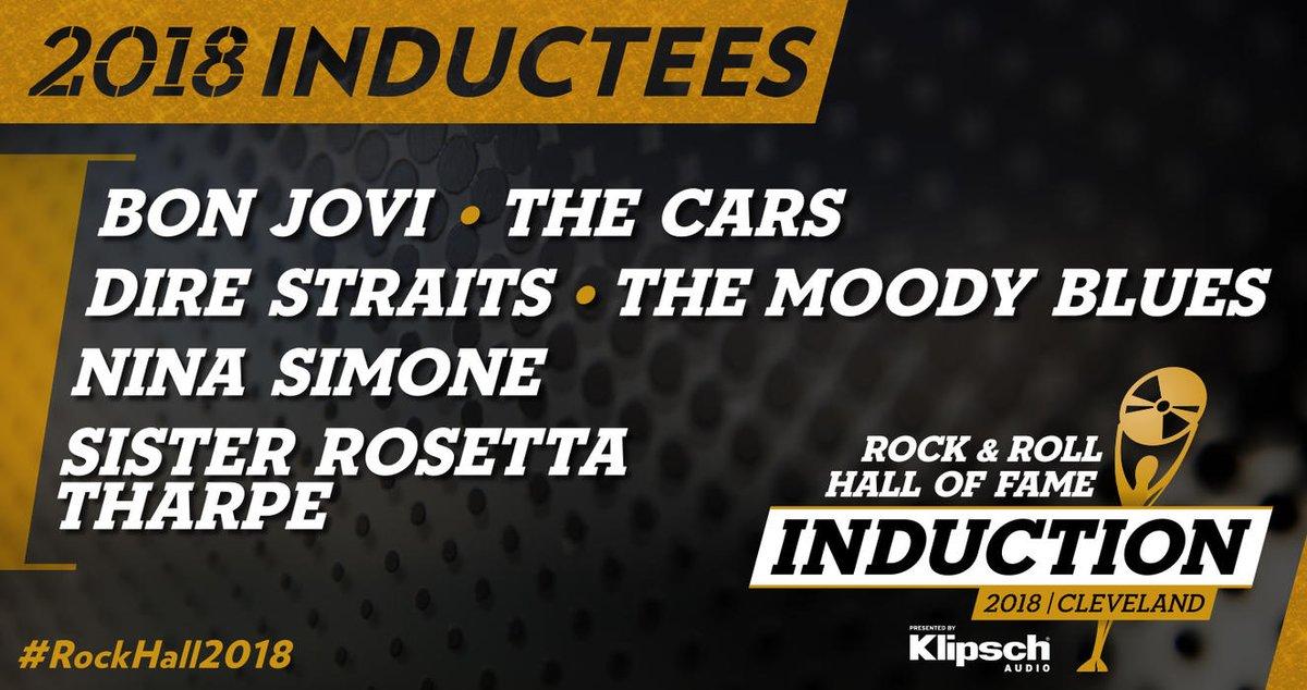 O Rock & Roll Hall of Fame anunciou nesta quarta-feira os cinco novos artistas que passarão a integrar a lista de homenageados. Entrarão para o Hall da Fama do Rock Bon Jovi, Dire Straits, The Moody Blues, Nina Simone e The Cars. Info: @danilogobatto