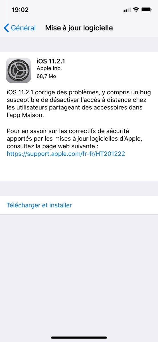 iOS 11.2.1 est disponible et corrige notamment la faille de sécurité liée à HomeKit. 📱👍 #Apple #iOS https://t.co/n5TOoq8DSV