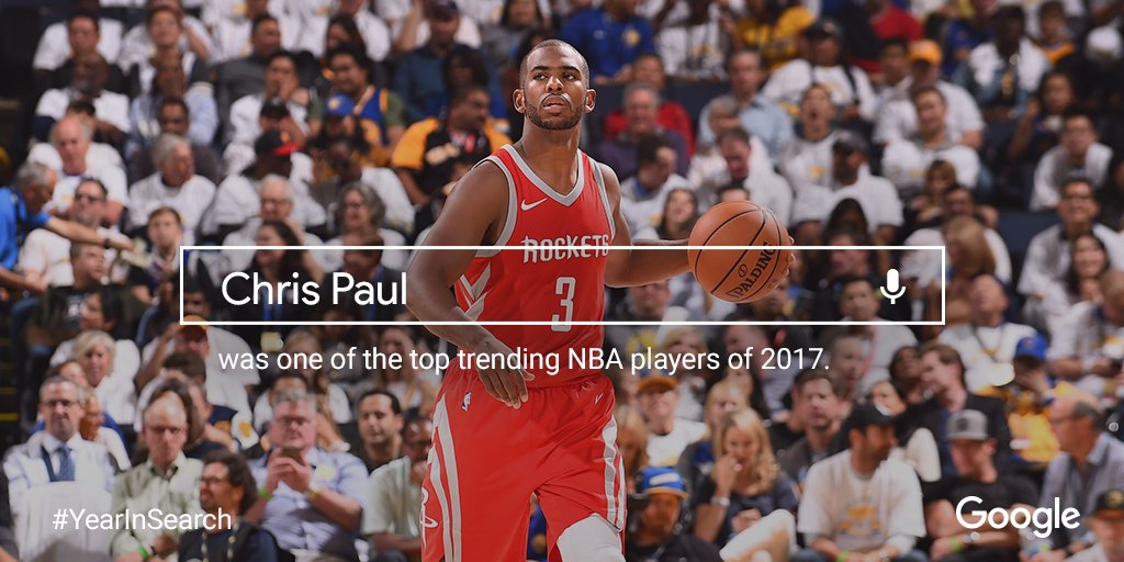 Ending 2017 as one of the top @NBA players searched on @google for the year. Thanks for the support! #YearInSearch https://t.co/JR25z4DqGS