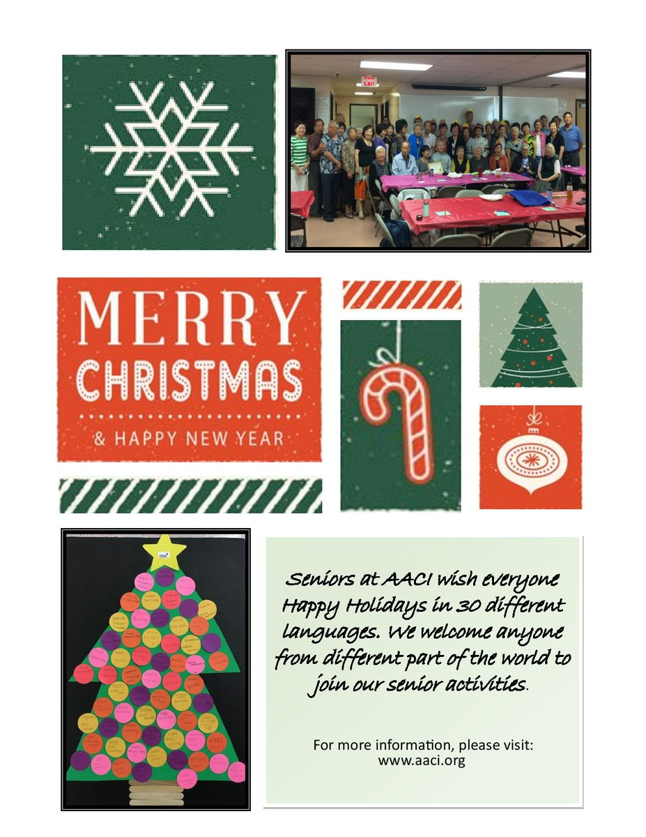 Aaci on twitter happyholidays from our senior center participants they wrote happy holiday greetings in 30 different languages and crafted the christmas tree you see on this picture wellnesswednesdaypicitter m4hsunfo