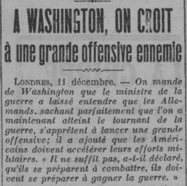 Les journaux préparent le public à l'offensive ennemie en préparation : elle sera terrible ! #Offensive #Washington #1917 #Centenairepic.twitter.com/Ekw5h1EQl0