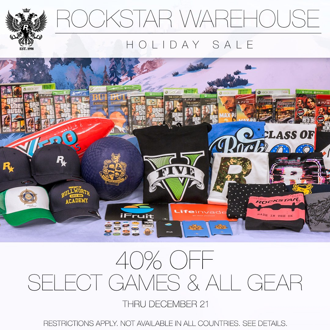Now through Thursday, December 21 get 40% off select games and all gear and collectibles during the Rockstar Warehouse Holiday Sale: https://t.co/SrCWfx4hhC