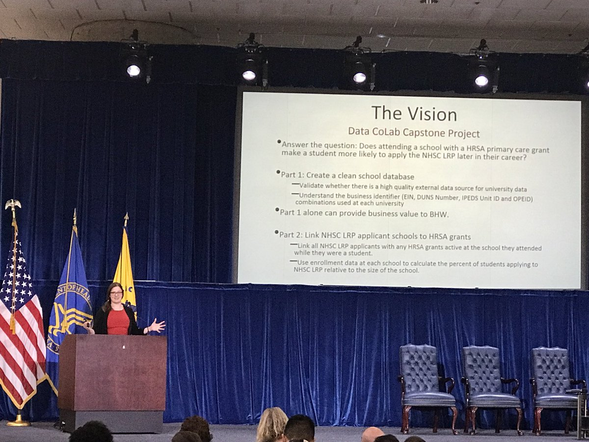 Carla Piwinsky from @HRSAgov presents her capstone project from the HHS Data Science CoLab #HHSInnovation
