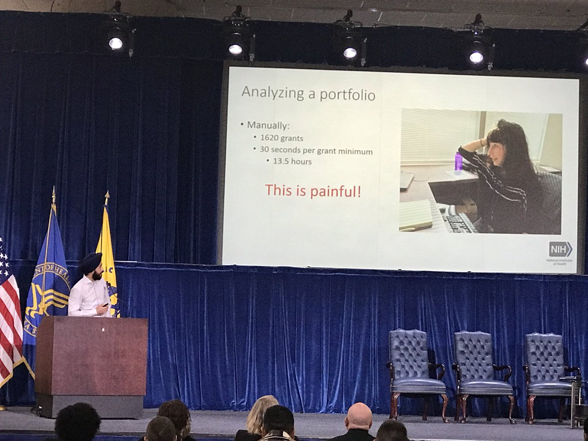 Bishen Singh from @NIH presenting his Data Science CoLab capstone project. Bishen's goal is to automate the grant coding process by using supervised machine learning to automate coding- the vision? One click coding #HHSInnovation