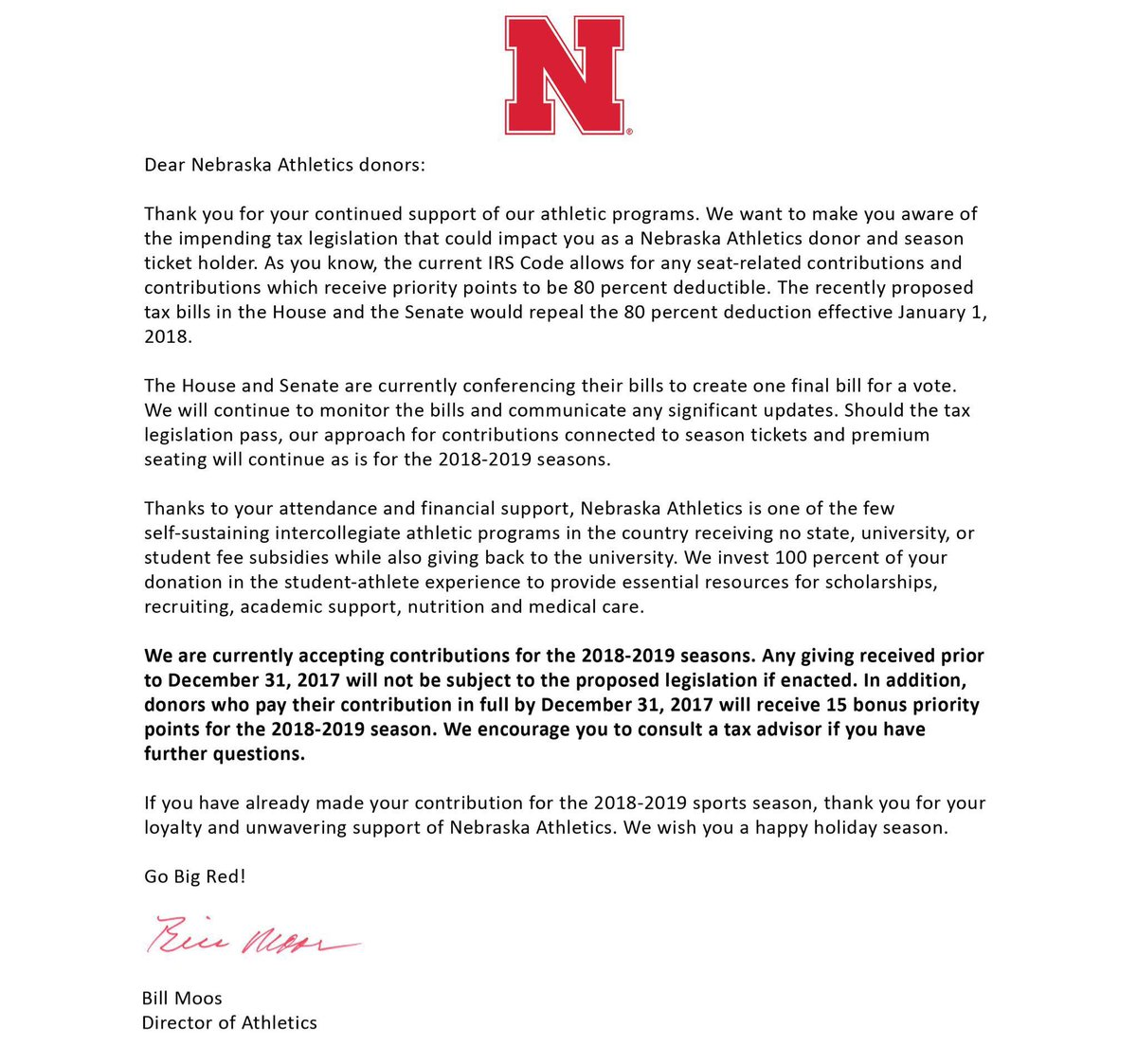 Nebraska development on twitter important letter for loyal important letter for loyal donors to nebraska athletics about the proposed tax legislation our staff is happy to assist you with any questions related to aljukfo Image collections