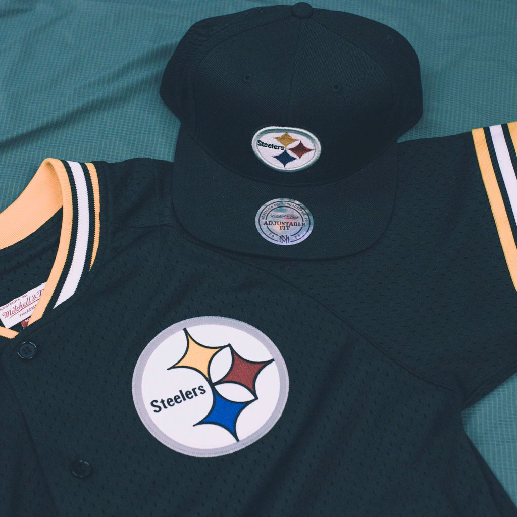 6909bc60d1e ... promo code for pittsburgh steelers official mitchell ness nfl mens seasoned  pro mesh button front 2.0