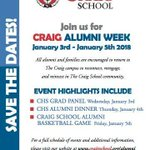 The Craig School announces our Alumni Activities. We hope to see you! #TheCraigSchool