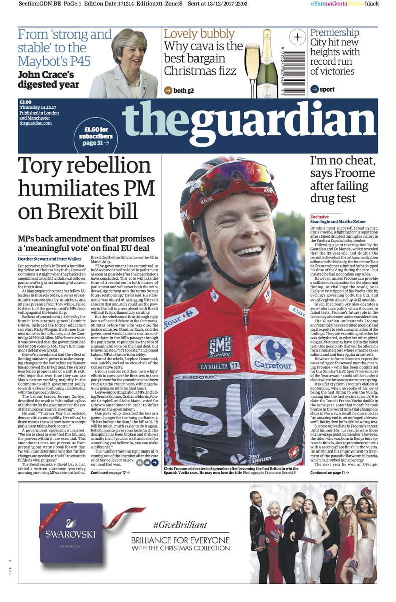 The Guardian front page, Thursday 14.12.17: Tory rebellion humiliates PM on Brexit bill
