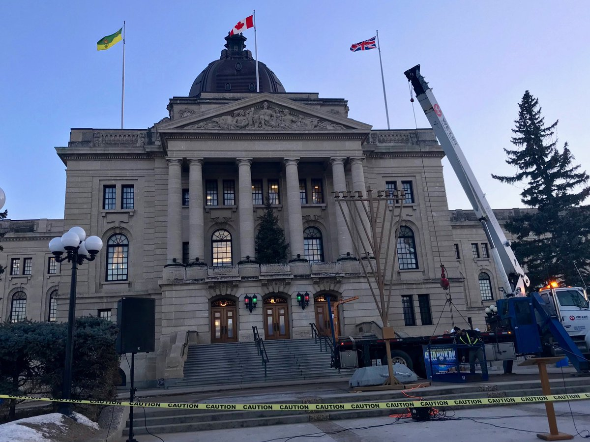 Preparing to light the menorah in front of @SKLegAssembly #skpoli