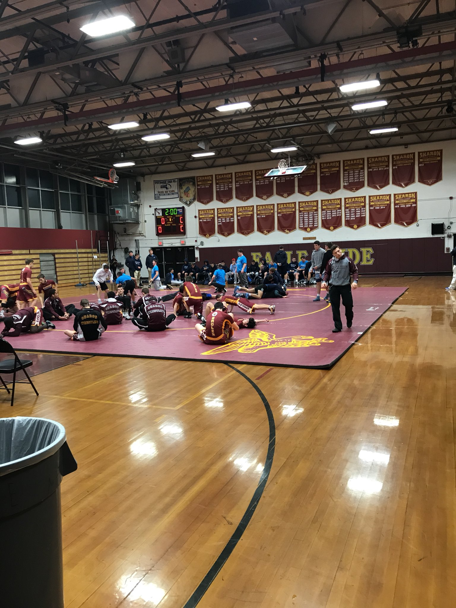 Preparing for the wrestling home opener with Franklin at SHS tonight @SHS_Eagles @HockomockSports