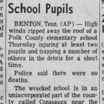Time for #Tornado #History! An F2 tornado briefly crossed through Polk Co., TN in 1973 and hit Conasauga Elementary School. The children were moved into inside halls.  Article via @_newspapers https://t.co/RKEjhwSaZO - Our Summary:  https://t.co/eROYFo0quI #tnwx #wxhistory