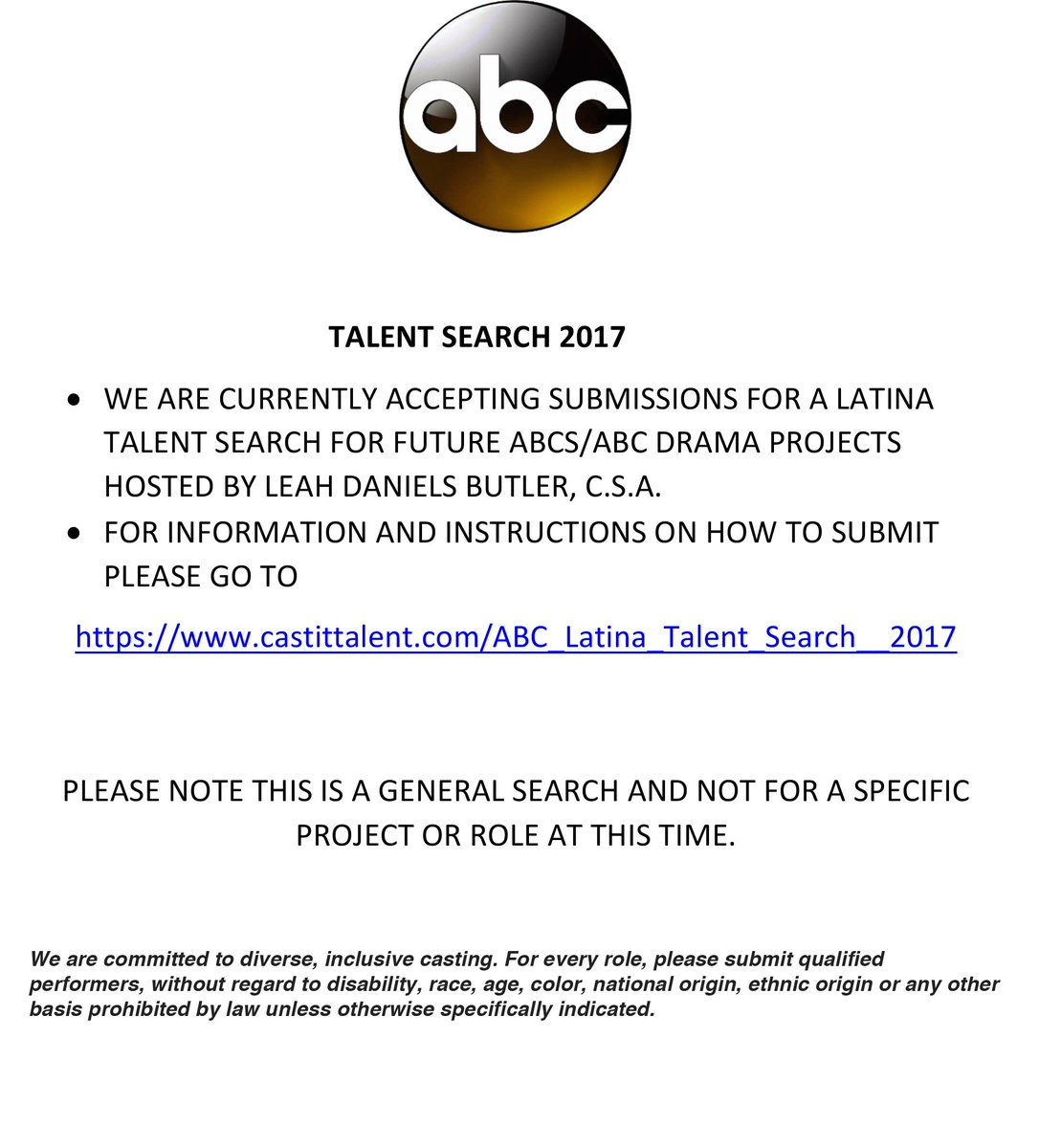 Talent Search For Future ABCS ABC Drama Projects Hosted By Leah Daniels Butler CSA Information And Instructions On How To Submit Please Go