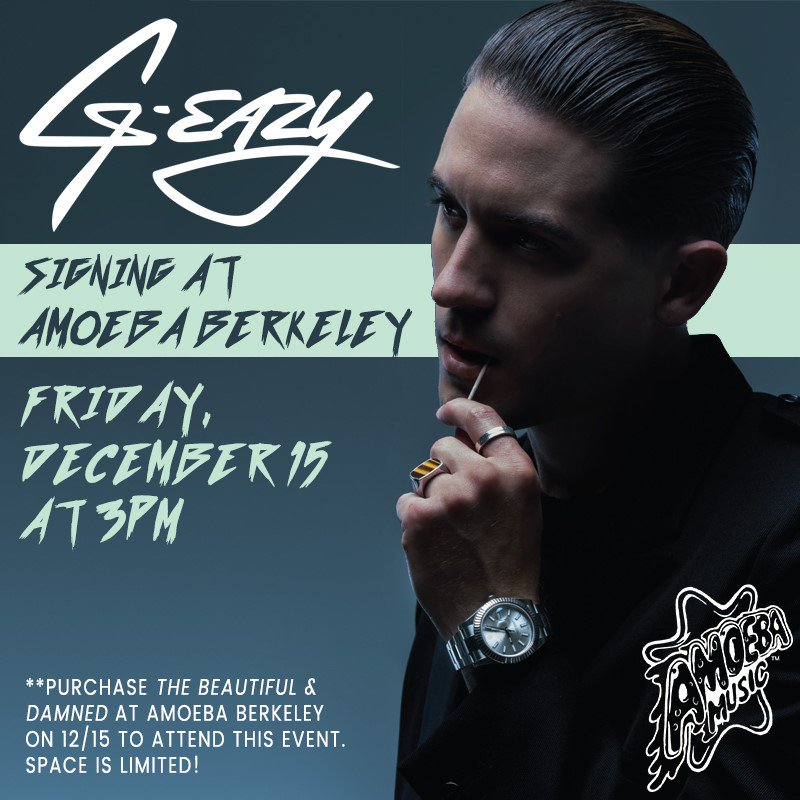 .@G_Eazy visits @AmoebaBerkeley to meet fans and sign his new album this Friday, Dec 15th at 3pm! Purchase 'The Beautiful & Damned' in-store only at Amoeba on 12/15 to attend this event. https://t.co/SOkhYF7IDt