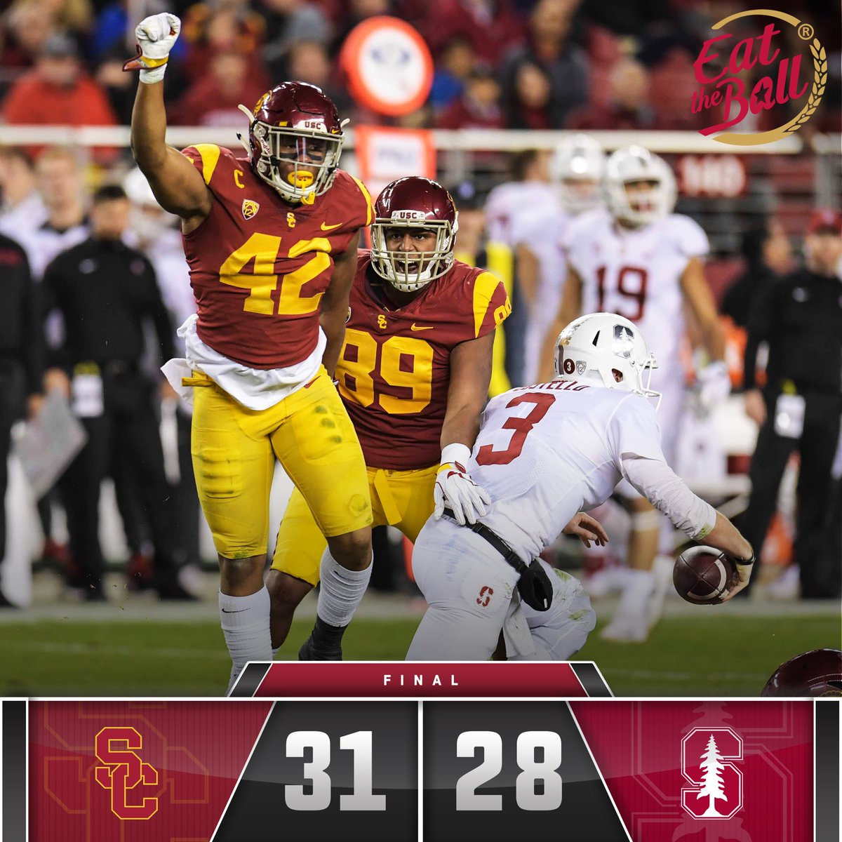 FINAL: USC 31, Stanford 28  The Trojans beat the Cardinal to win the 2017 Pac-12 Championship!  #FightOn