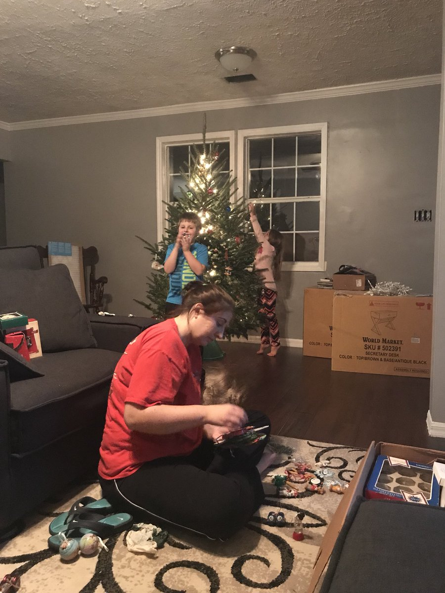 Yearly tradition; finger foods, How the Gronch stole Christmas, and tree decorating. Feeling Blessed!