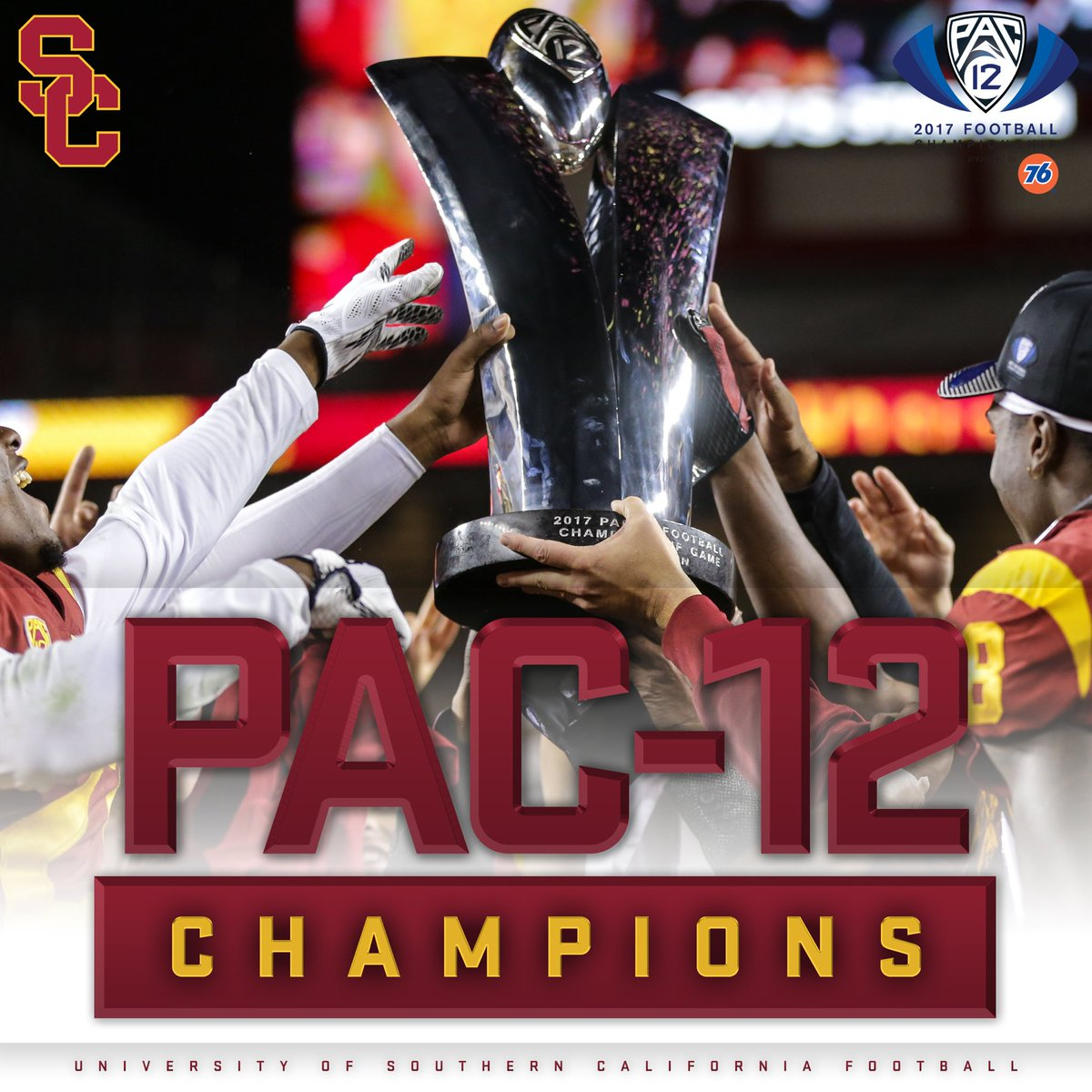 For the first time since 2008, the Trojans are Pac-12 Champions! #FightOn
