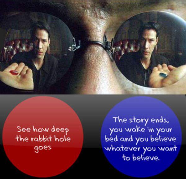 Pill or red matrix quote blue The Matrix: