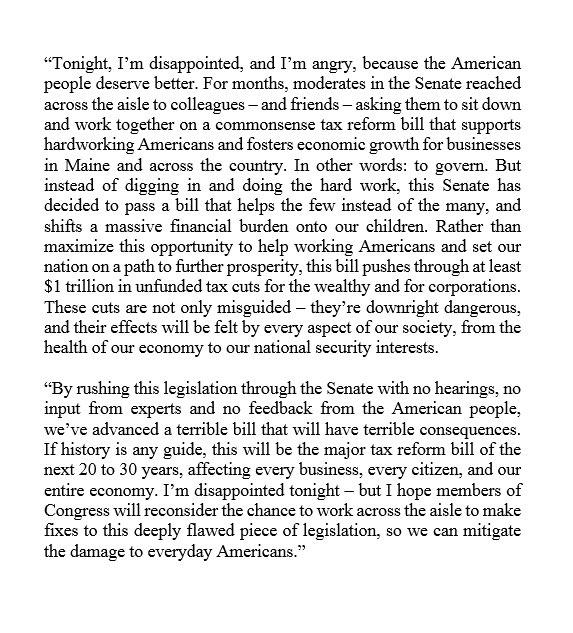 My statement on the Senate's passage of the tax bill: