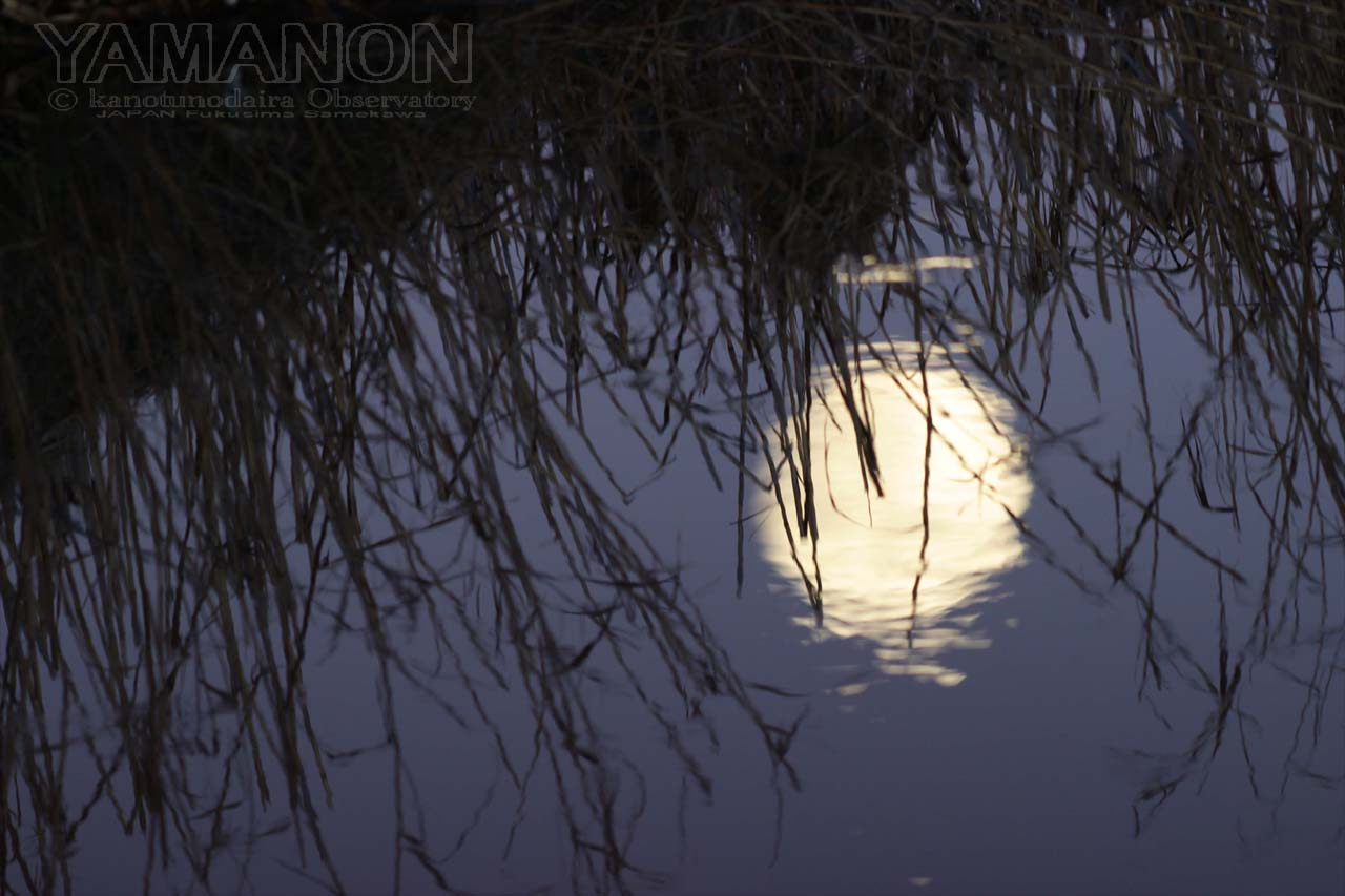 冷たい水の中の月。