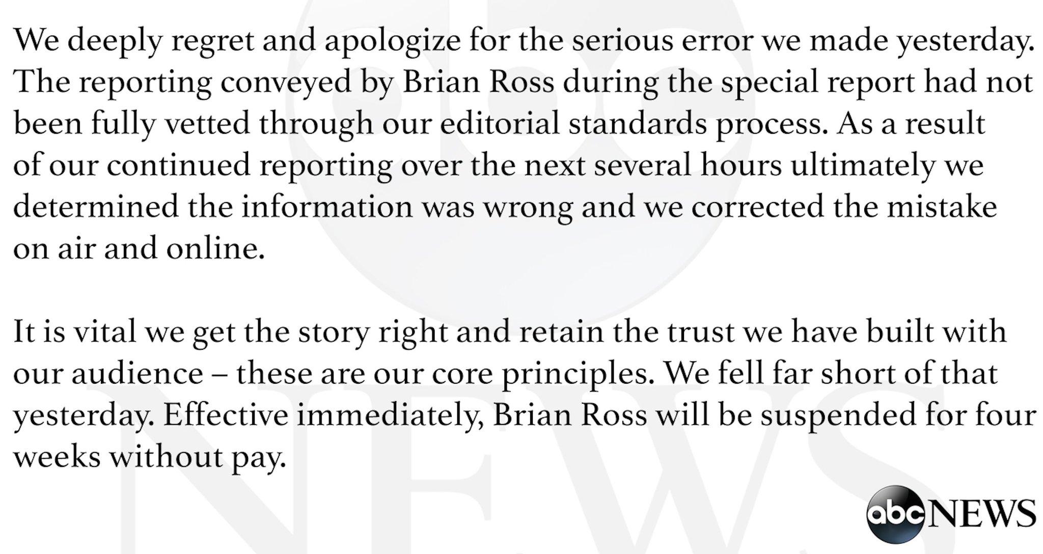 RT @ABC: .@ABC News statement on Michael Flynn report: https://t.co/sd9TeFiiLQ https://t.co/UtHFHeuwcM