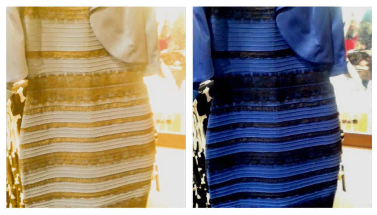 Blue and black or white and gold dress illusion explained