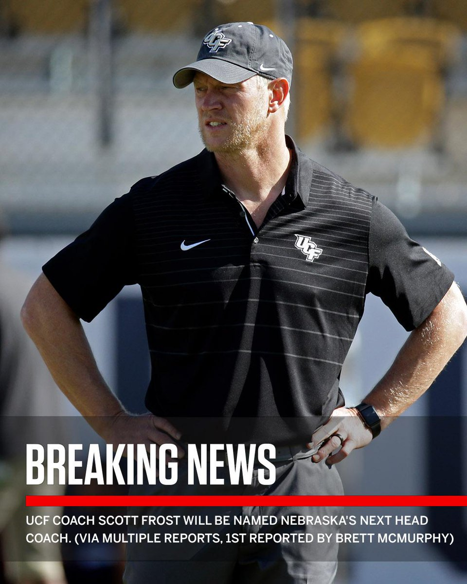 Breaking: UCF coach Scott Frost will be named Nebraska's next head coach. (via multiple reports, first reported by Brett McMurphy)