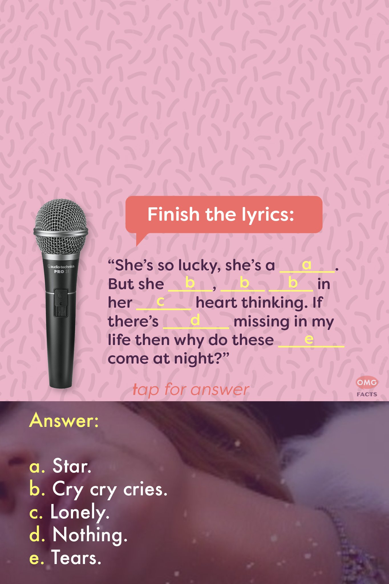 Happy Birthday, Britney Spears! Finish these lyrics from this iconic song from the Princess of Pop.