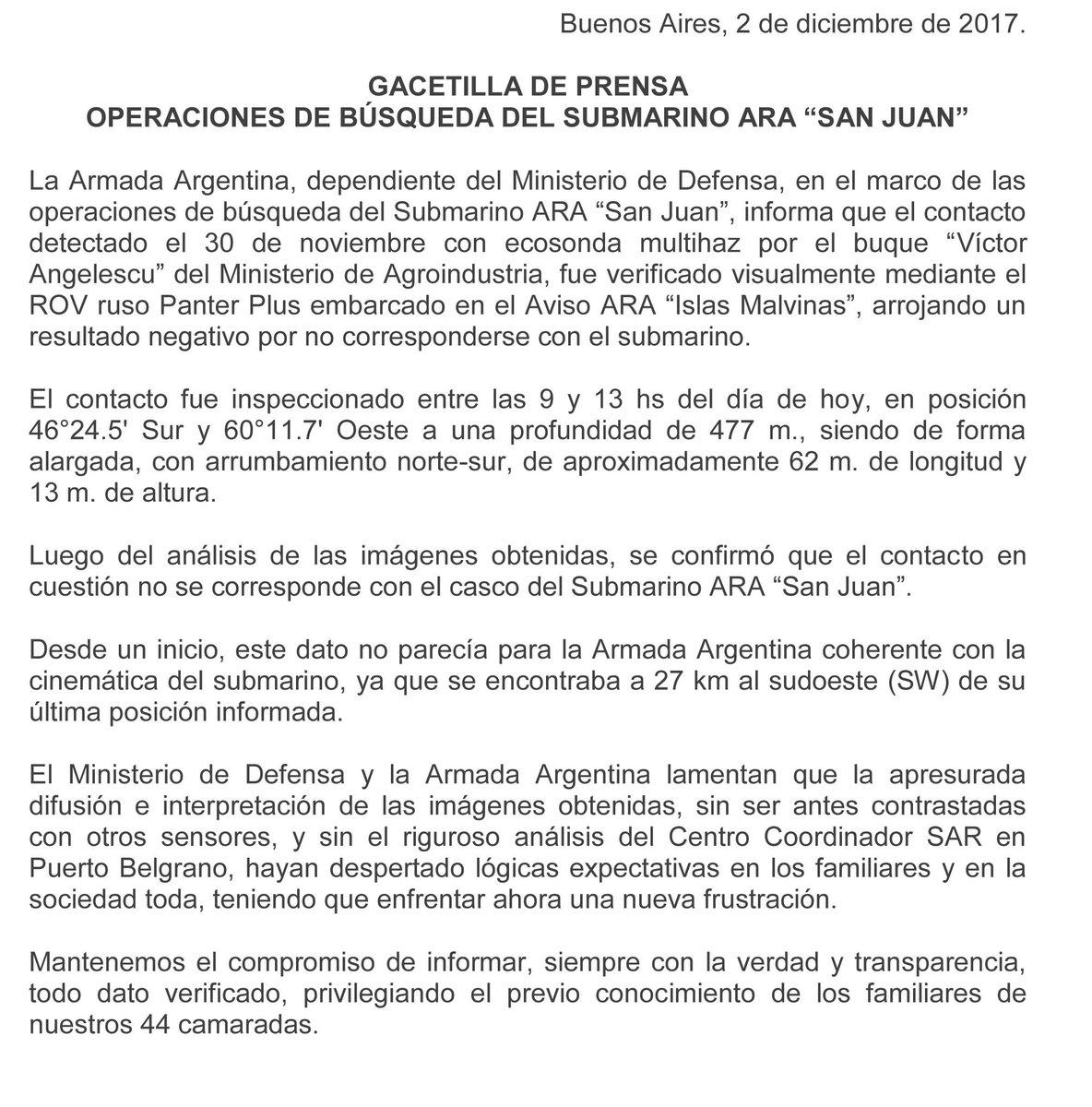 Ara San Juan, el ahora olvidado submarino Argentino desaparecido con 44 tripulantes a bordo - Página 3 DQFF8XaWkAAsA7X
