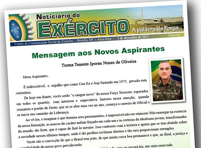 Mensagem do Comandante do Exército aos aspirantes da Turma Tenente Iporan Nunes de Oliveira https://t.co/F45JEgQFbC