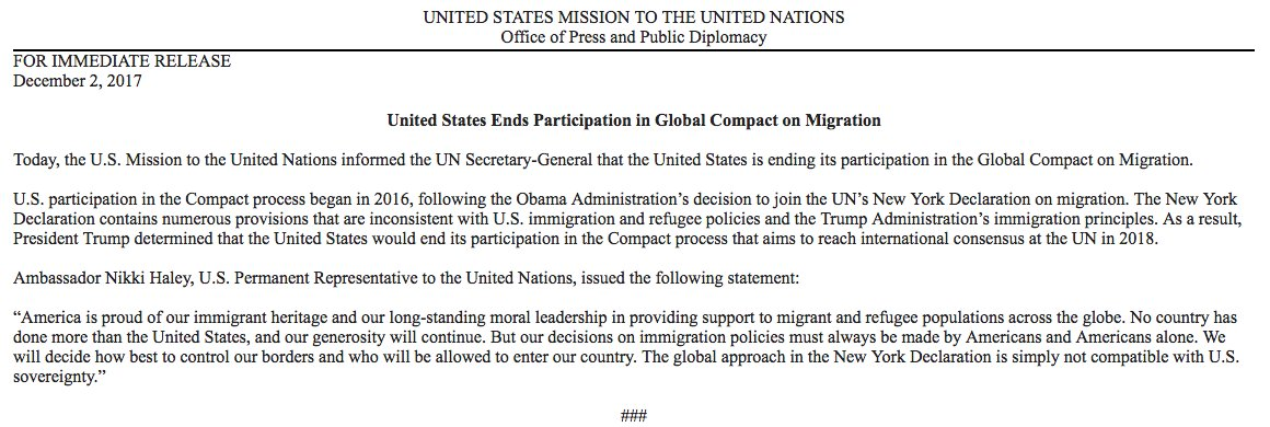 """Ambassador Nikki Haley: """"America is proud of our immigrant heritage and our long-standing moral leadership in providing support to migrant and refugee populations across the globe...But our decisions on immigration policies must always be made by Americans and Americans alone.'"""