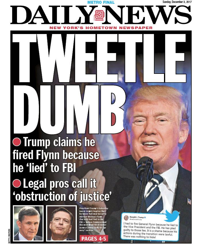 An early look at tomorrow's front page... TWEETLE DUMB https://t.co/qhCE3qkrll