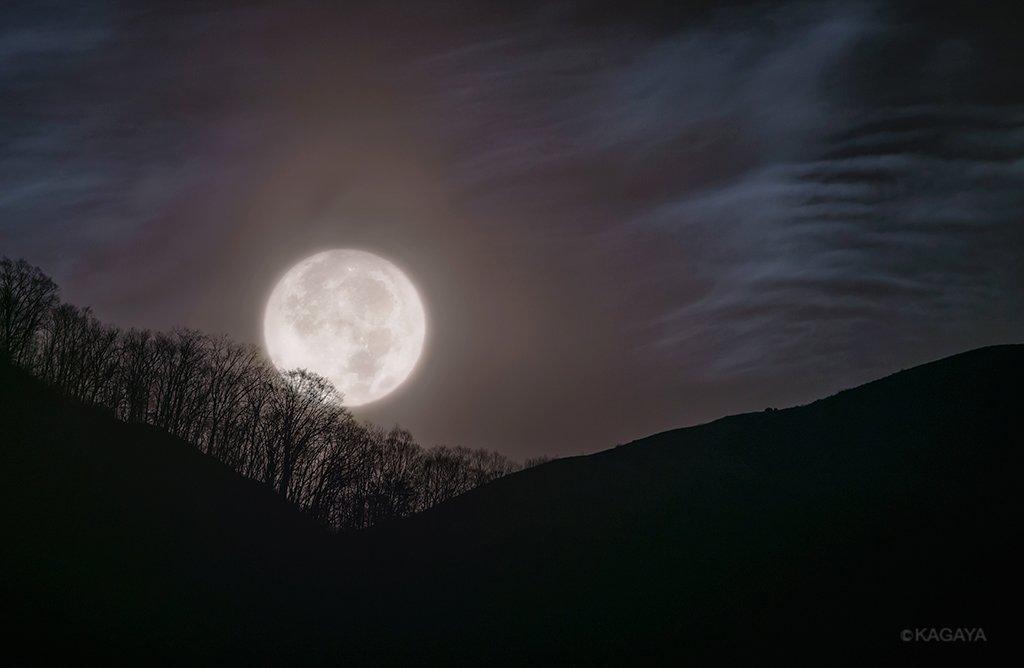 今朝未明の沈みゆく月です。(長野県駒ヶ根市にて撮影) 今夜は今年最後にして一番大きく見える満月です。